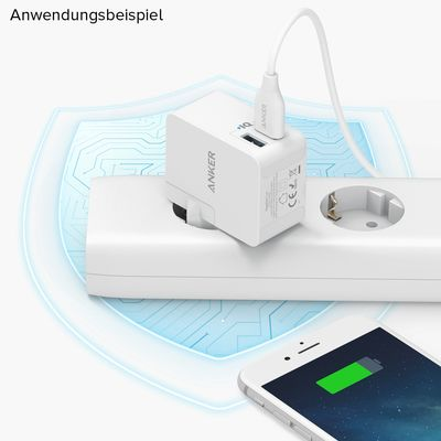 Für weitere Info hier klicken. Artikel: Anker PowerPort 2 Lite with Interchangeable UK and EU Plugs 17W