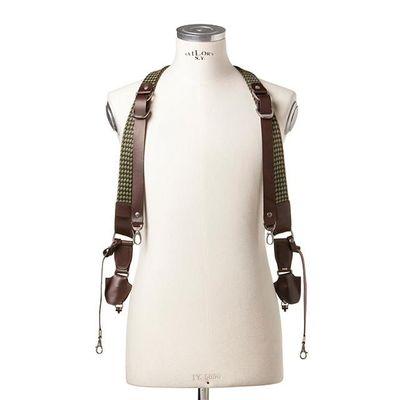 Für weitere Info hier klicken. Artikel: Barber Shop Cross Body - Double Bridle Sideburns braided string - dark brown leather