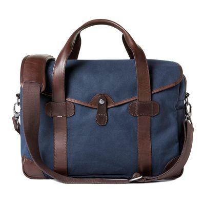 Für weitere Info hier klicken. Artikel: Barber Shop Medium Messenger Bob Cut blue canvas - dark brown leather