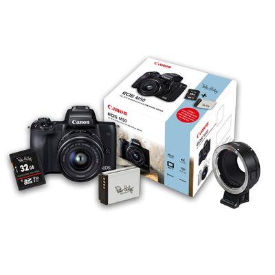 Für weitere Info hier klicken. Artikel: Canon EOS M50 + EF-M 15-45mm + 32 GB Speicherkarte + Zusatzakku + Objektivadapter EF-EOS M schwarz