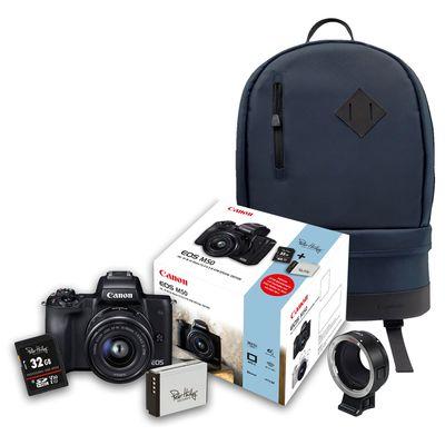 Für weitere Info hier klicken. Artikel: Canon EOS M50 + EF-M 15-45mm + 32 GB Speicherkarte + Zusatzakku + Objektivadapter EF-EOS M + Rucksack BP100 blau