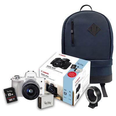 Für weitere Info hier klicken. Artikel: Canon EOS M50 + EF-M 15-45mm + 32 GB Speicherkarte + Zusatzakku + Objektivadapter EF-EOS M + Rucksack BP100 blau weiss