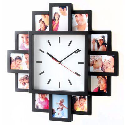 Für weitere Info hier klicken. Artikel: Euratio Foto-Uhr Bahnhof schwarz, für 12 Fotos, aus Kunststoff, zum Hängen