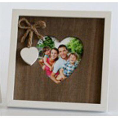 Für weitere Info hier klicken. Artikel: Euratio Holzrahmen Heartbreak 10x10cm, braun-weiß mit Herz-Applikation, zum Stellen