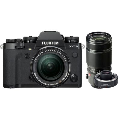Für weitere Info hier klicken. Artikel: Fujifilm X-T3 mit XF18-55mm F2.8-4 R LM OIS + XF 2,8/50-140 R LM OIS WR + TC XF 1.4X schwarz Fujifilm X