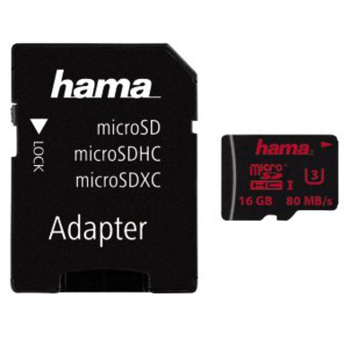 Für weitere Info hier klicken. Artikel: Hama Micro SDHC-Card UHS Speed Class 3 UHS-I 80MB/s + Adapter/Action-Cam 16 GB