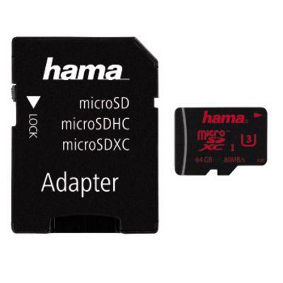 Für weitere Info hier klicken. Artikel: Hama Micro SDXC-Card 80MB/s + Adapter 64 GB