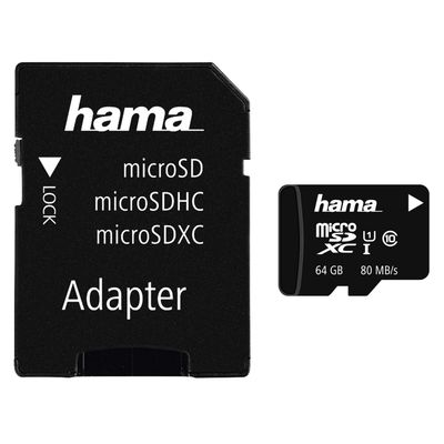 Für weitere Info hier klicken. Artikel: Hama Micro SDXC Class 10 UHS-I 80MB/s + Adapter/Foto 64 GB