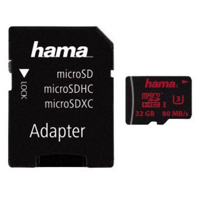 Für weitere Info hier klicken. Artikel: Hama microSDHC UHS Speed Class 3 UHS-I 80MB/s + Adapter/Foto 32 GB