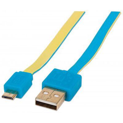 Für weitere Info hier klicken. Artikel: Manhattan Flachbandkabel Micro-USB auf USB 1 m blau-gelb