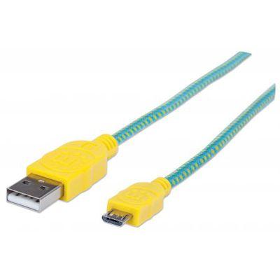 manhattan micro usb kabel mit stoffummantelung gr n gelb 1 m 352710. Black Bedroom Furniture Sets. Home Design Ideas