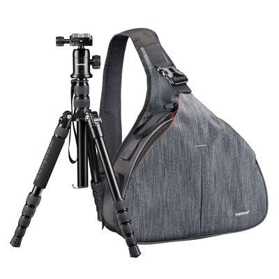 Für weitere Info hier klicken. Artikel: Mantona Kameratasche Triangel Grau + DSLM Stativ