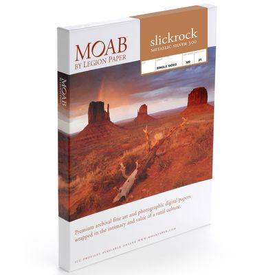 Für weitere Info hier klicken. Artikel: Moab Slickrock Metallic Silver 300 A3+ (13 x 19 Zoll) 25 Blatt