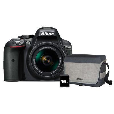 Für weitere Info hier klicken. Artikel: Nikon D5300 + AF-P DX 18-55mm VR + Tasche CF-EU11 + 16 GB SDHC Speicherkarte schwarz