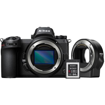 Für weitere Info hier klicken. Artikel: Nikon Z 7 + FTZ Adapter + 64GB XQD