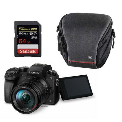 Für weitere Info hier klicken. Artikel: Panasonic Lumix DMC-G70 + 14-42mm OIS Vario + Kameratasche Sambia 100 Colt + 64 GB SD-Karte