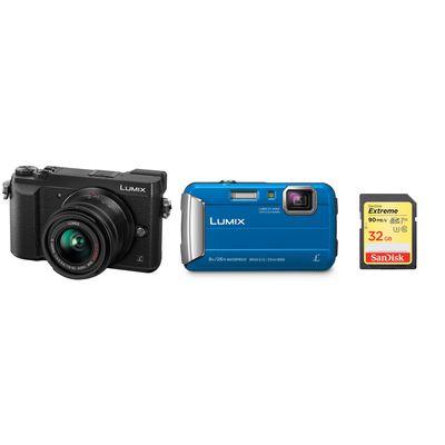 Für weitere Info hier klicken. Artikel: Panasonic Urlaubskit GX80,AF 14-42 + Strandkamera Lumix DMC-FT30 + 32 GB blau