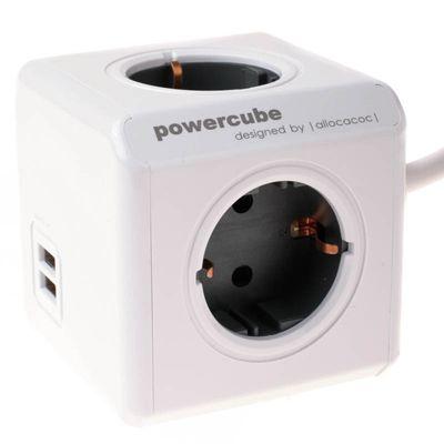 Für weitere Info hier klicken. Artikel: Powercube Allocacoc Extended USB Mehrfachsteckdose mit USB-Anschluss und Verlängerungskabel 3m grau