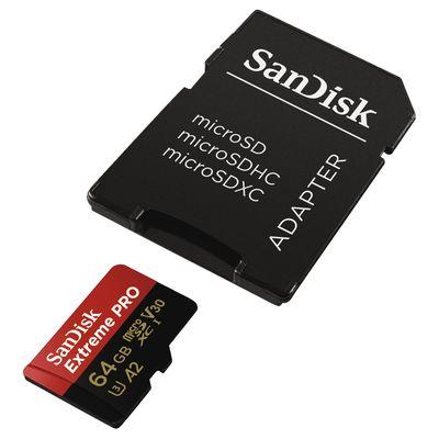 Für weitere Info hier klicken. Artikel: SanDisk microSDXC Extreme Pro A2, V30, U3, R170, W90, + Adapter 64 GB