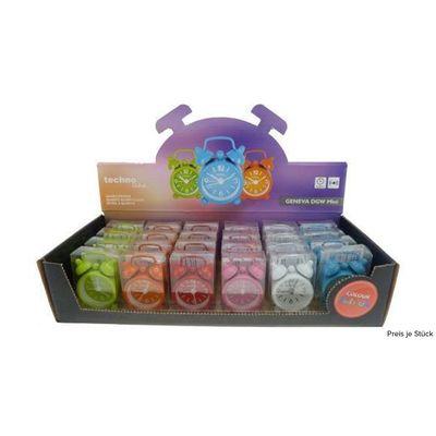 Für weitere Info hier klicken. Artikel: Technoline Mini-Uhr+Wecker farbig im 24 er Display