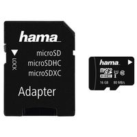 Hama Micro SDHC Class 10 UHS-I 80MB/s + Adapter/Foto 16 GB