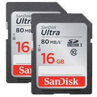 SanDisk Ultra, SDHC, Class 10, UHS-I, 80MB/s 16 GB 2er-Pack