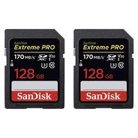 SanDisk Extreme Pro, SDXC Video Speed, Class 10, UHS-I, U3, V30,170MB/s 128 GB 2er Pack