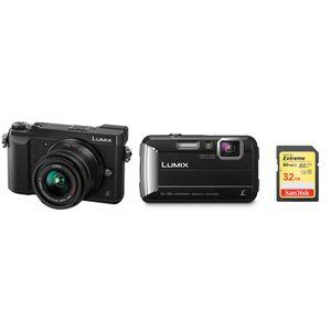 Für weitere Info hier klicken. Artikel: Panasonic Urlaubskit GX80,AF 14-42 + Strandkamera Lumix DMC-FT30 + 32 GB Speicherkarte schwarz