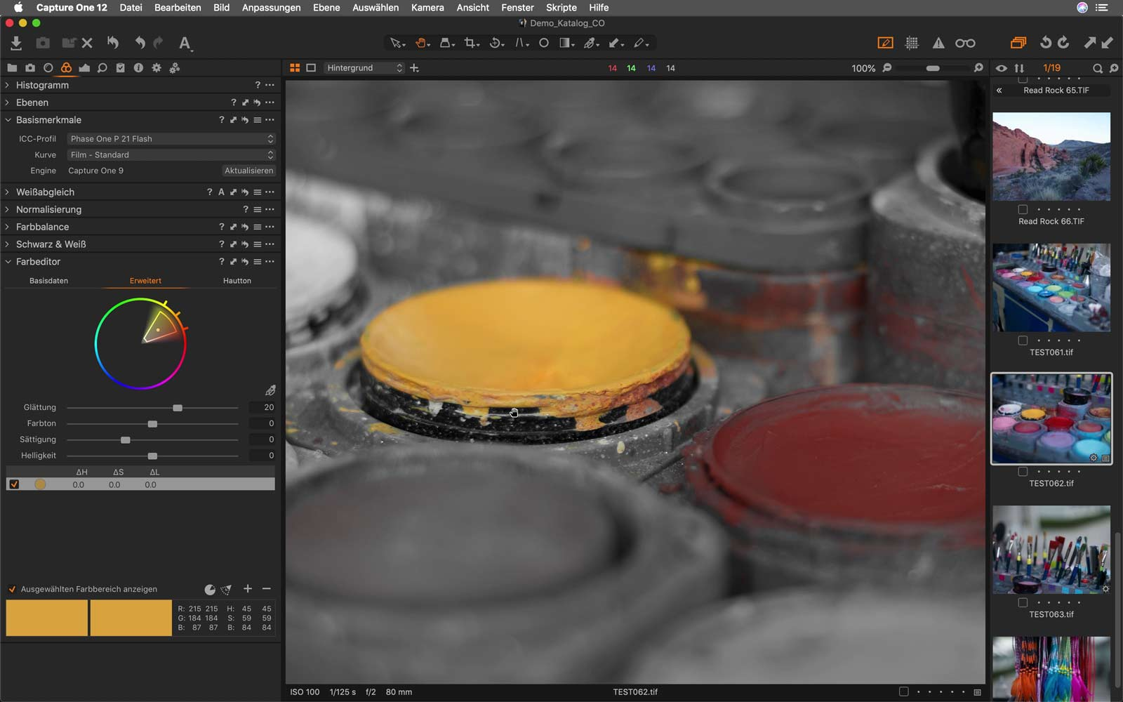 Farbeditor Bildbearbeitungssoftware Capture One