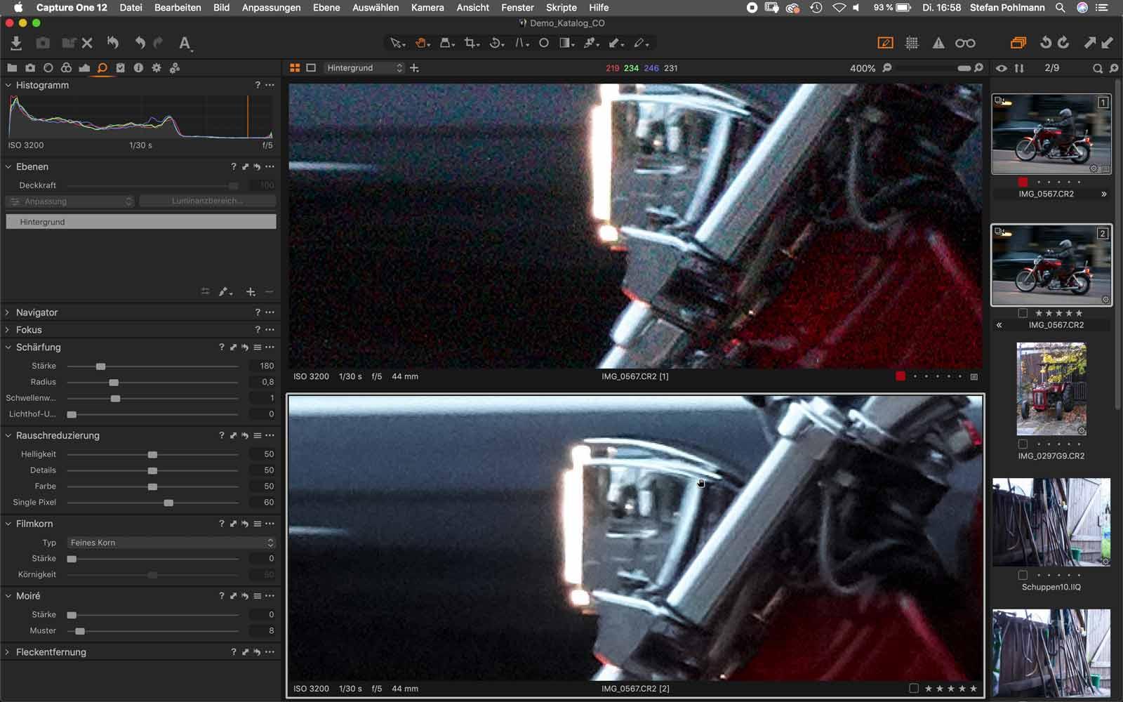 Rauschreduzierung Bildbearbeitungssoftware Capture One
