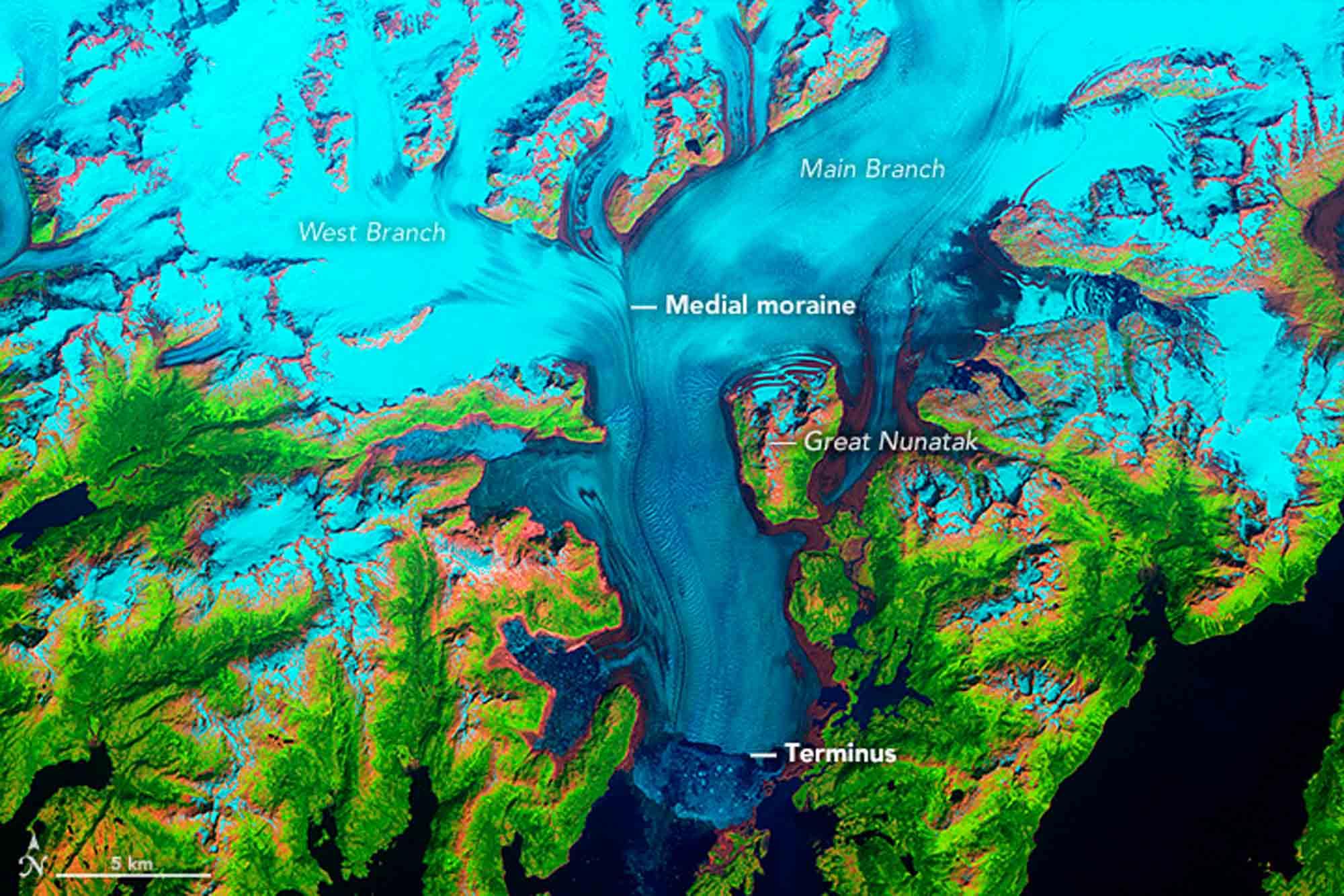 Columbien Gletscher 1986 / Earth Observatory NASA