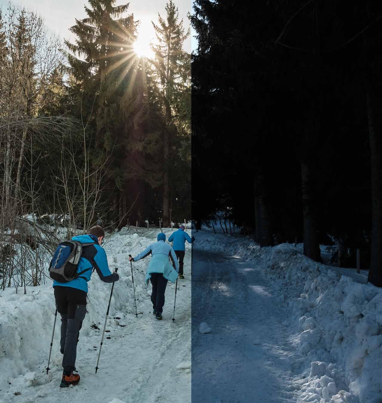 Winterwanderer auf einem schneebedeckten Weg