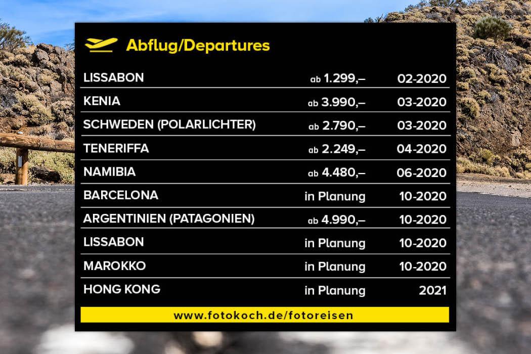 Fotoreisen Abflugtafel