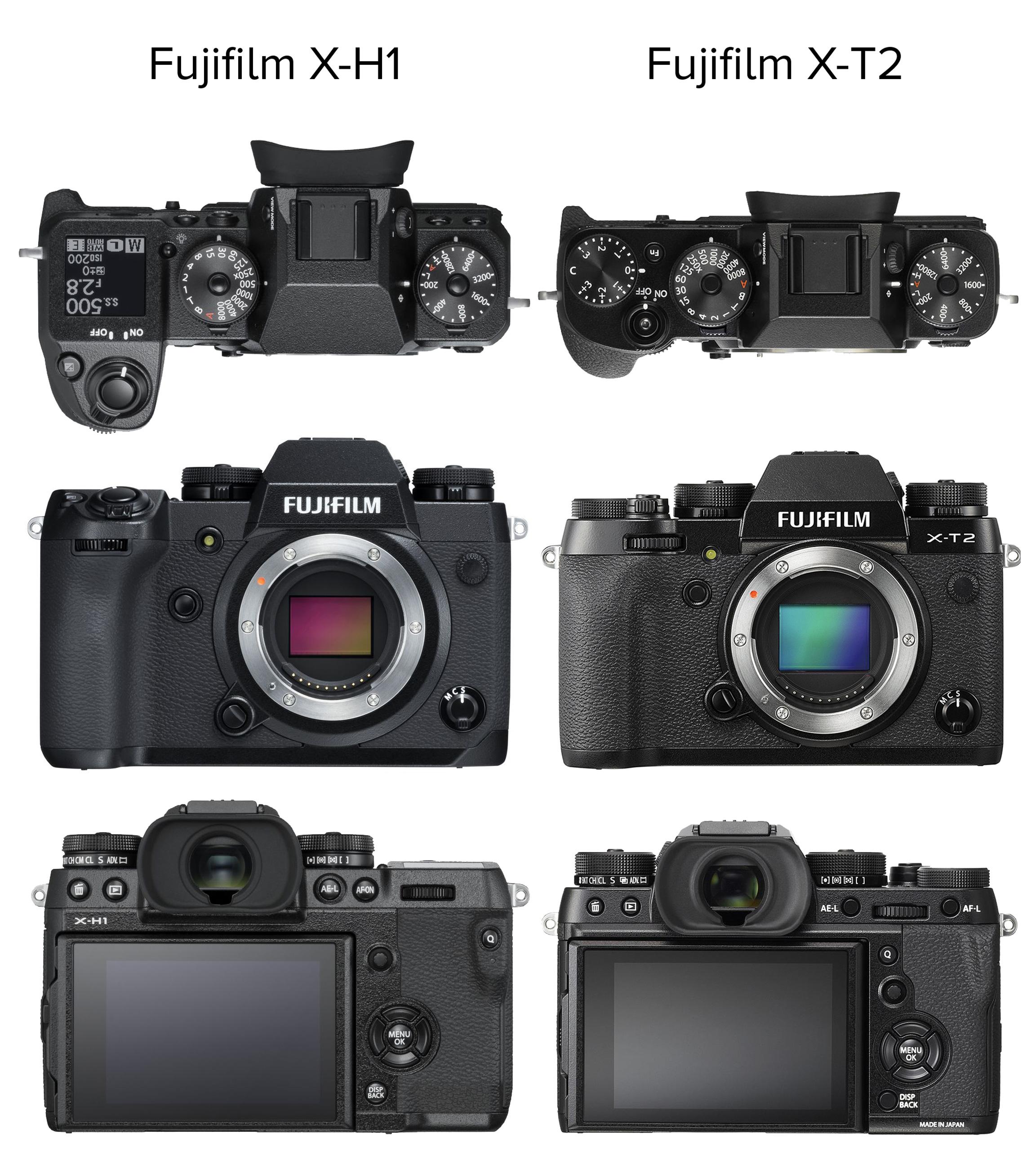 Größenvergleich Systemkameras XT2 XH1