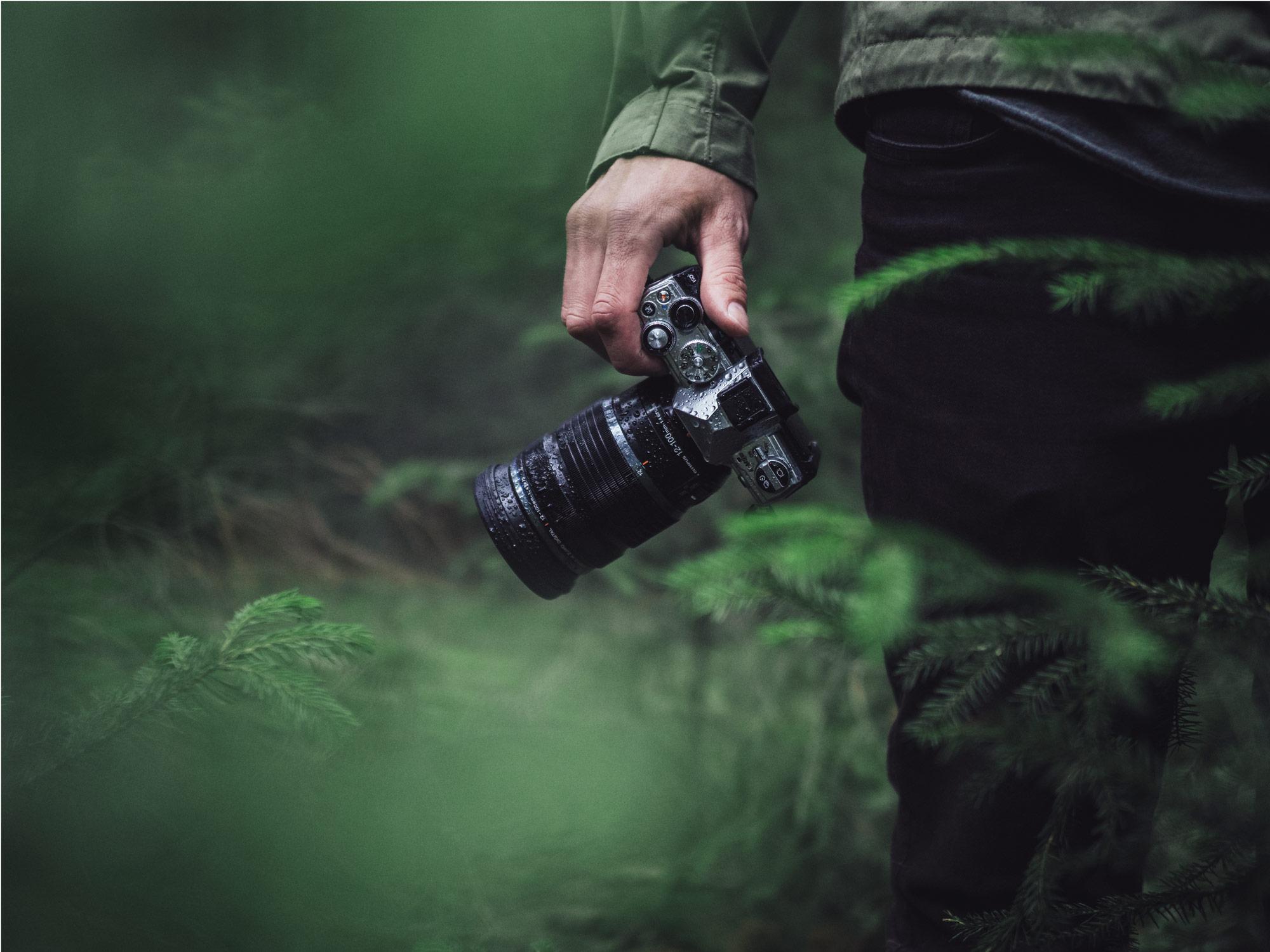 Olympus Kamera im Wald