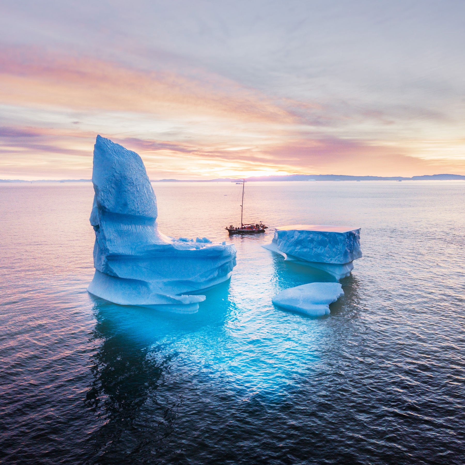 Grönland Sonnenuntergang Eisberg