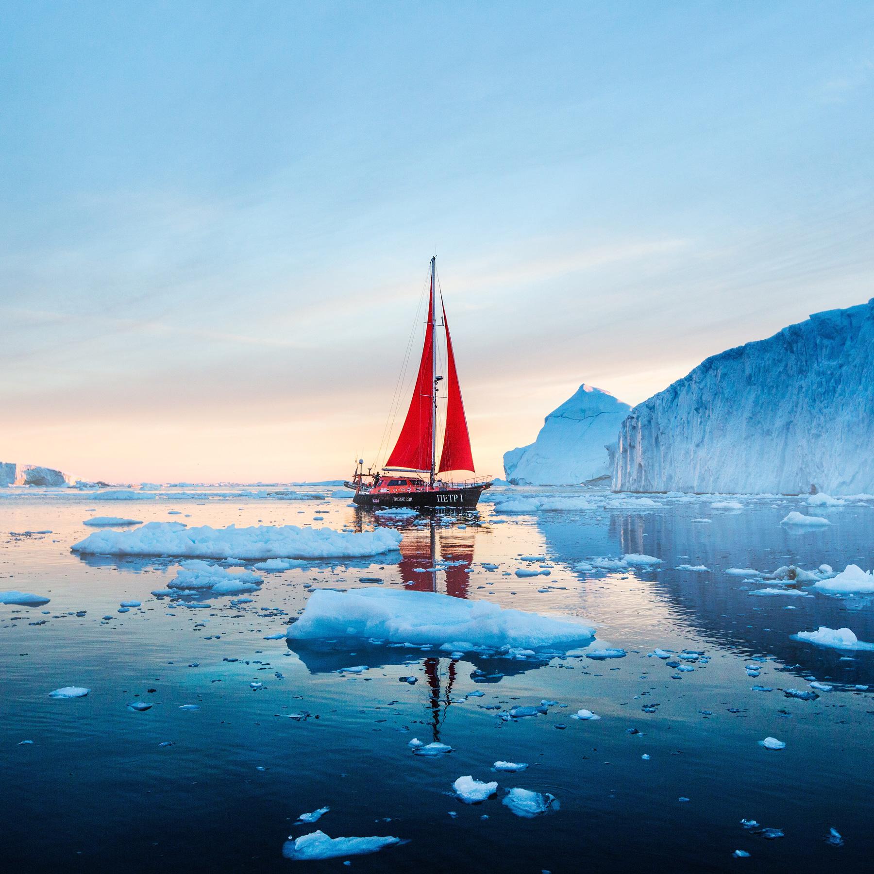 Grönland Segelboot Sonnenuntergang Eisberg