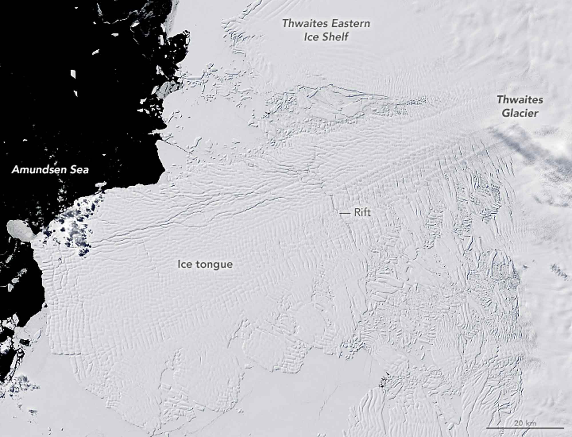 Thwaites Gletscher 2001 / Earth Observatory NASA