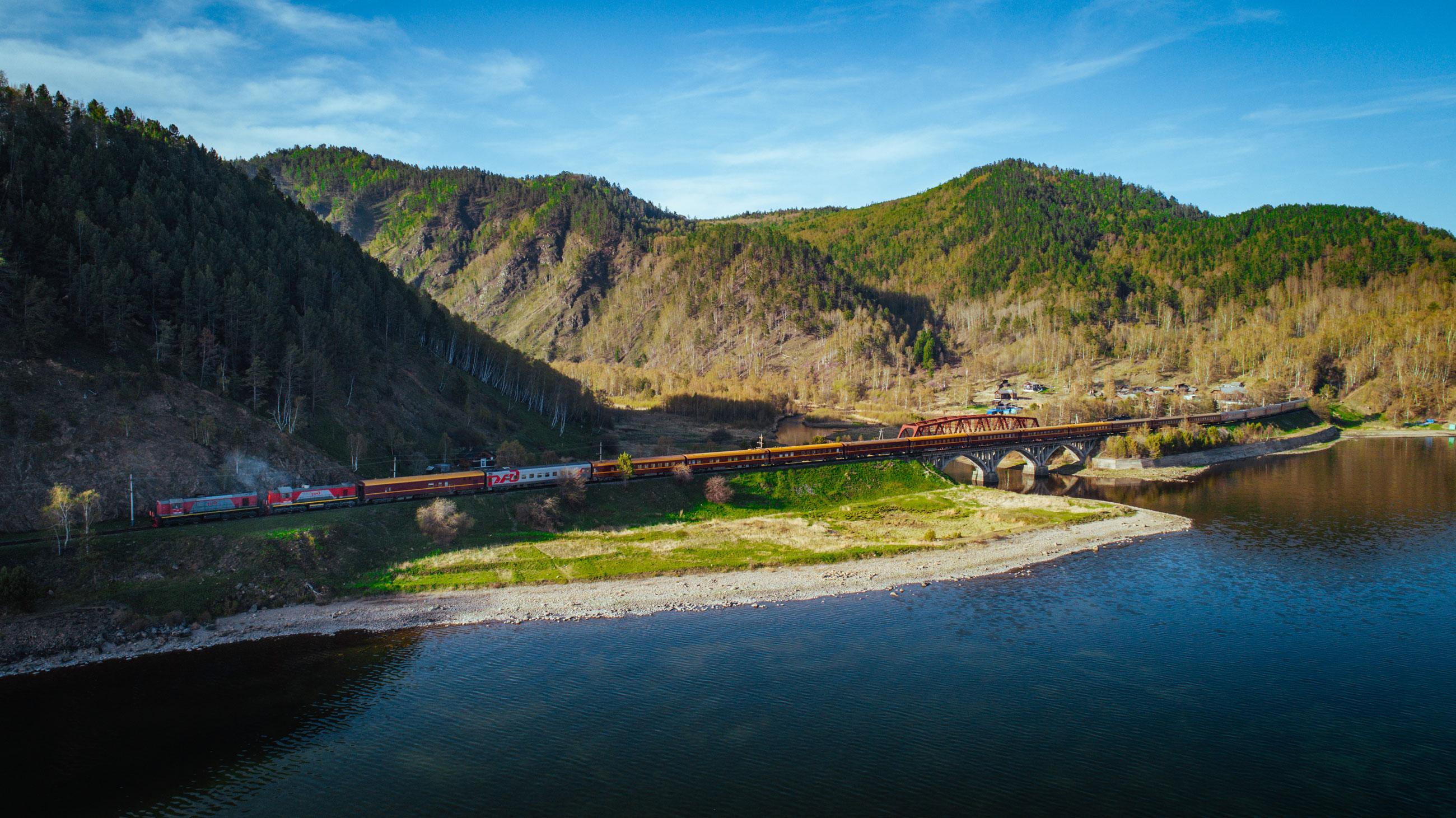 Transsibirische Eisenbahn Luftaufnahme Landschaft