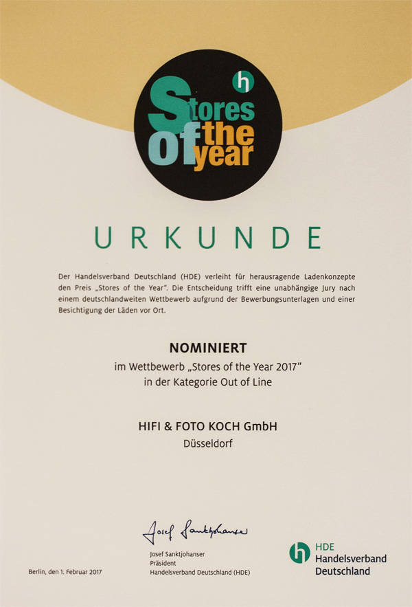 HDE Store of the Year - Urkunde